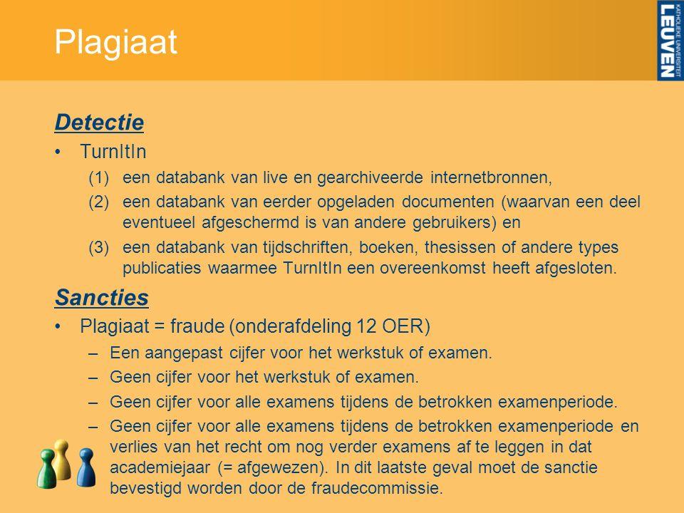 Plagiaat Detectie TurnItIn (1)een databank van live en gearchiveerde internetbronnen, (2)een databank van eerder opgeladen documenten (waarvan een dee