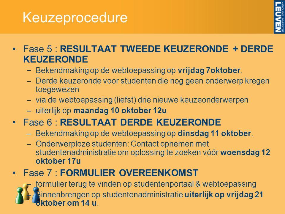 Keuzeprocedure Fase 5 : RESULTAAT TWEEDE KEUZERONDE + DERDE KEUZERONDE −Bekendmaking op de webtoepassing op vrijdag 7oktober.
