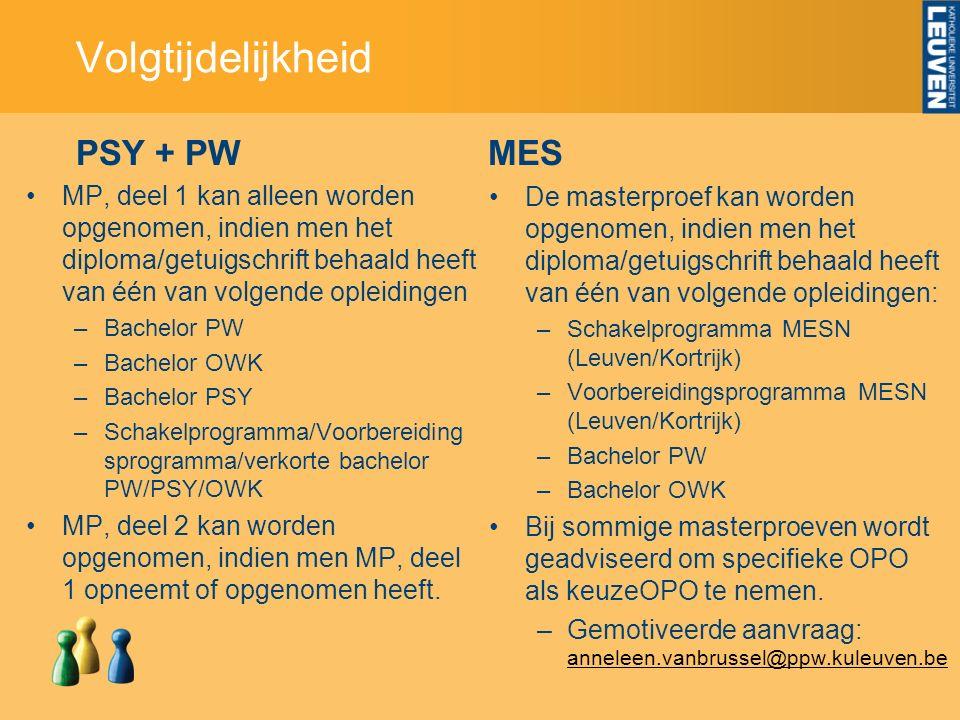 PSY + PW MP, deel 1 kan alleen worden opgenomen, indien men het diploma/getuigschrift behaald heeft van één van volgende opleidingen –Bachelor PW –Bachelor OWK –Bachelor PSY –Schakelprogramma/Voorbereiding sprogramma/verkorte bachelor PW/PSY/OWK MP, deel 2 kan worden opgenomen, indien men MP, deel 1 opneemt of opgenomen heeft.