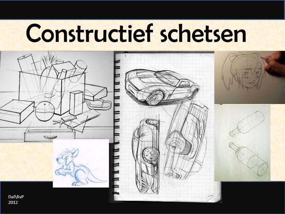 Constructief schetsen: 1) de belangrijkste richting(en) 2) de globale vorm 3) meer ingaan op de vorm 4) details