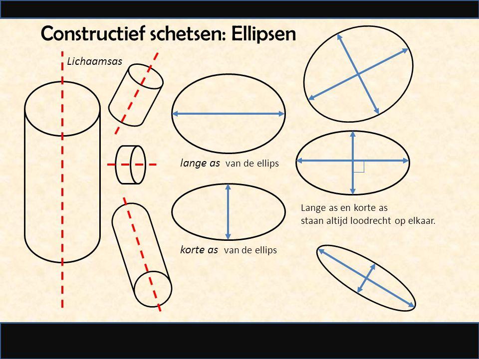Constructief schetsen: Ellipsen Lange as en korte as staan altijd loodrecht op elkaar.