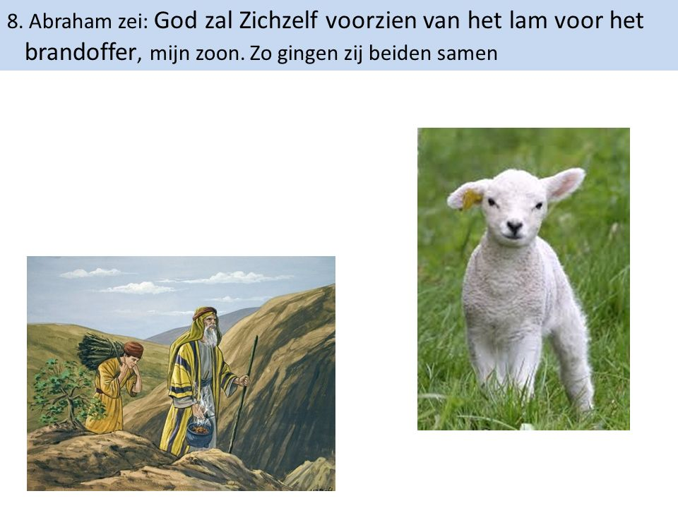 8. Abraham zei: God zal Zichzelf voorzien van het lam voor het brandoffer, mijn zoon. Zo gingen zij beiden samen