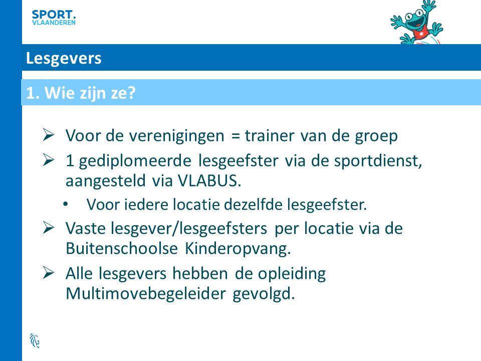 Lesgevers  Voor de verenigingen = trainer van de groep  1 gediplomeerde lesgeefster via de sportdienst, aangesteld via VLABUS.