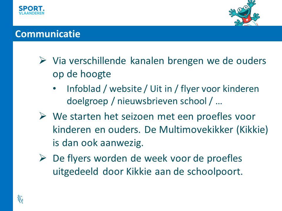 Communicatie  Via verschillende kanalen brengen we de ouders op de hoogte Infoblad / website / Uit in / flyer voor kinderen doelgroep / nieuwsbrieven school / …  We starten het seizoen met een proefles voor kinderen en ouders.