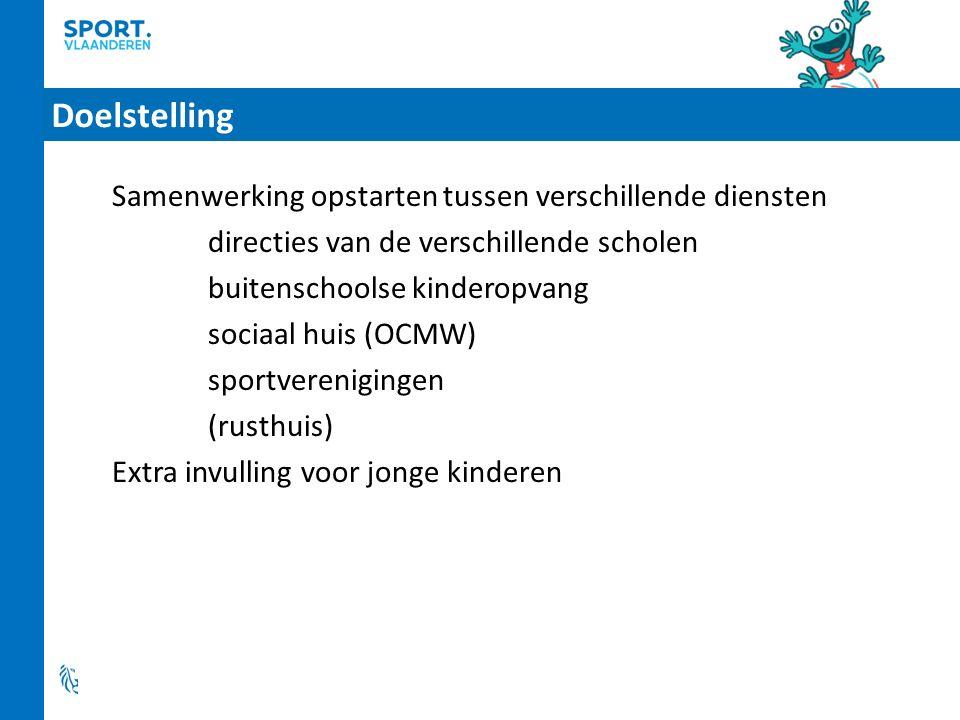 Doelstelling Samenwerking opstarten tussen verschillende diensten directies van de verschillende scholen buitenschoolse kinderopvang sociaal huis (OCMW) sportverenigingen (rusthuis) Extra invulling voor jonge kinderen