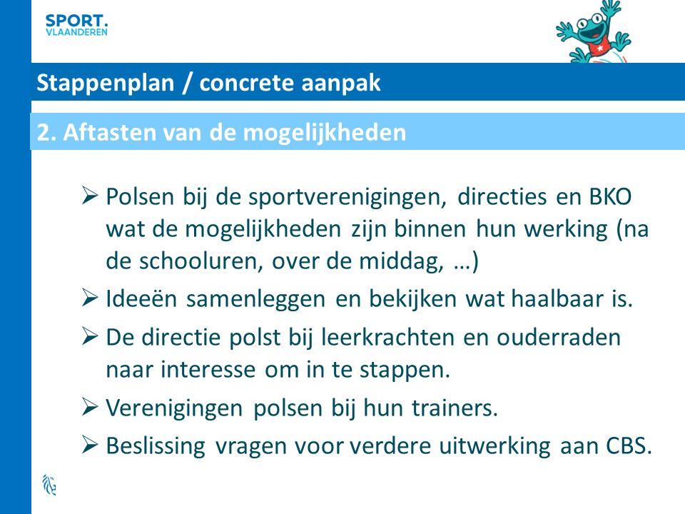 Stappenplan / concrete aanpak  Polsen bij de sportverenigingen, directies en BKO wat de mogelijkheden zijn binnen hun werking (na de schooluren, over de middag, …)  Ideeën samenleggen en bekijken wat haalbaar is.