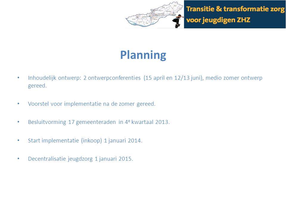 Planning Inhoudelijk ontwerp: 2 ontwerpconferenties (15 april en 12/13 juni), medio zomer ontwerp gereed. Voorstel voor implementatie na de zomer gere