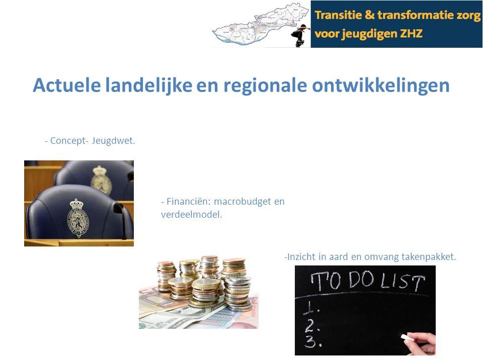 Actuele landelijke en regionale ontwikkelingen - Concept- Jeugdwet. - Financiën: macrobudget en verdeelmodel. -Inzicht in aard en omvang takenpakket.