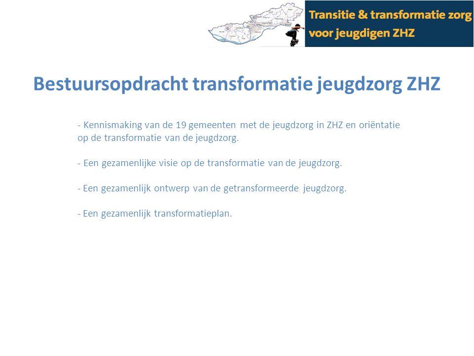 Bestuursopdracht transformatie jeugdzorg ZHZ - Kennismaking van de 19 gemeenten met de jeugdzorg in ZHZ en oriëntatie op de transformatie van de jeugdzorg.