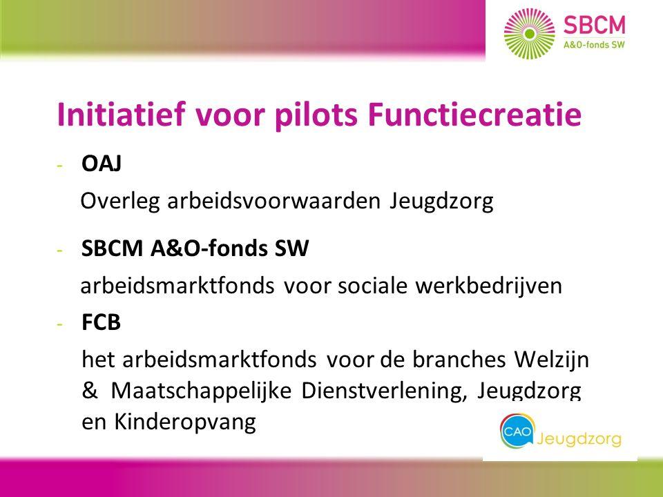 Initiatief voor pilots Functiecreatie - OAJ Overleg arbeidsvoorwaarden Jeugdzorg - SBCM A&O-fonds SW arbeidsmarktfonds voor sociale werkbedrijven - FCB het arbeidsmarktfonds voor de branches Welzijn & Maatschappelijke Dienstverlening, Jeugdzorg en Kinderopvang