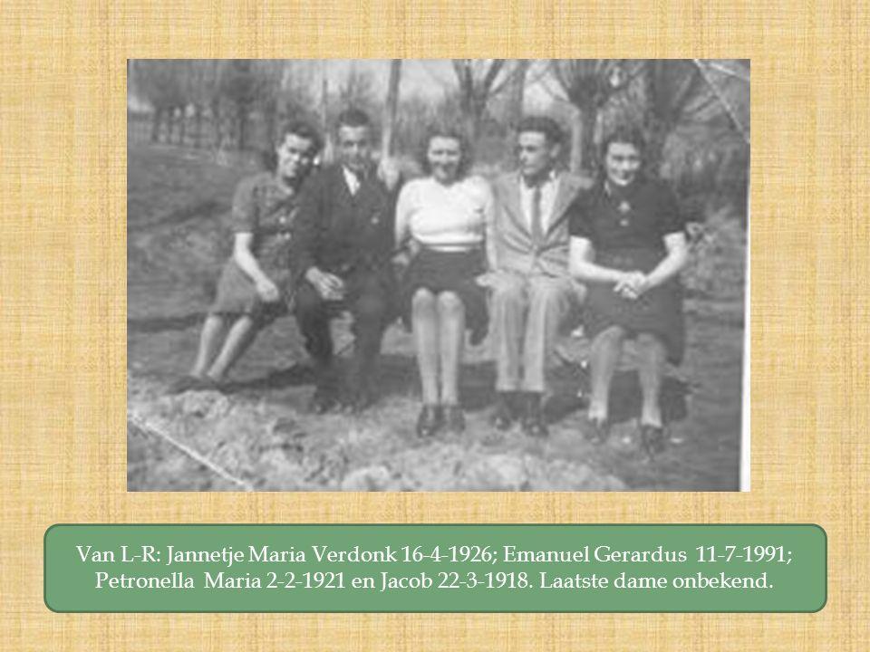 Van L-R: Jannetje Maria Verdonk 16-4-1926; Emanuel Gerardus 11-7-1991; Petronella Maria 2-2-1921 en Jacob 22-3-1918.