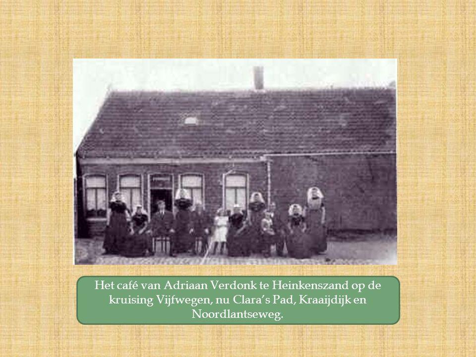 Het café van Adriaan Verdonk te Heinkenszand op de kruising Vijfwegen, nu Clara's Pad, Kraaijdijk en Noordlantseweg.
