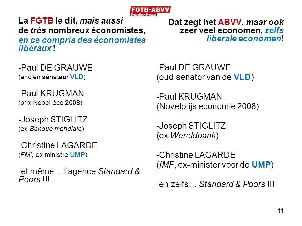 La FGTB le dit, mais aussi de très nombreux économistes, en ce compris des économistes libéraux ! -Paul DE GRAUWE (ancien sénateur VLD) -Paul KRUGMAN