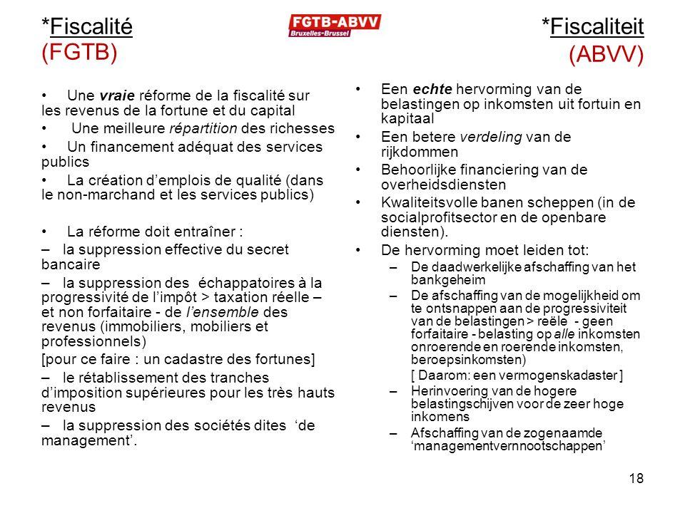 *Fiscalité (FGTB) Une vraie réforme de la fiscalité sur les revenus de la fortune et du capital Une meilleure répartition des richesses Un financement