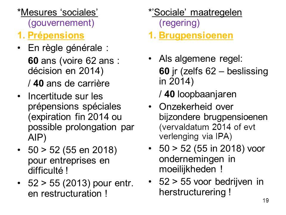 *Mesures 'sociales' (gouvernement) 1. Prépensions En règle générale : 60 ans (voire 62 ans : décision en 2014) / 40 ans de carrière Incertitude sur le