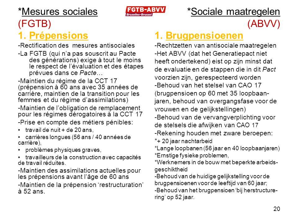 *Mesures sociales (FGTB) 1.Prépensions -Rectification des mesures antisociales -La FGTB (qui n'a pas souscrit au Pacte des générations) exige à tout l