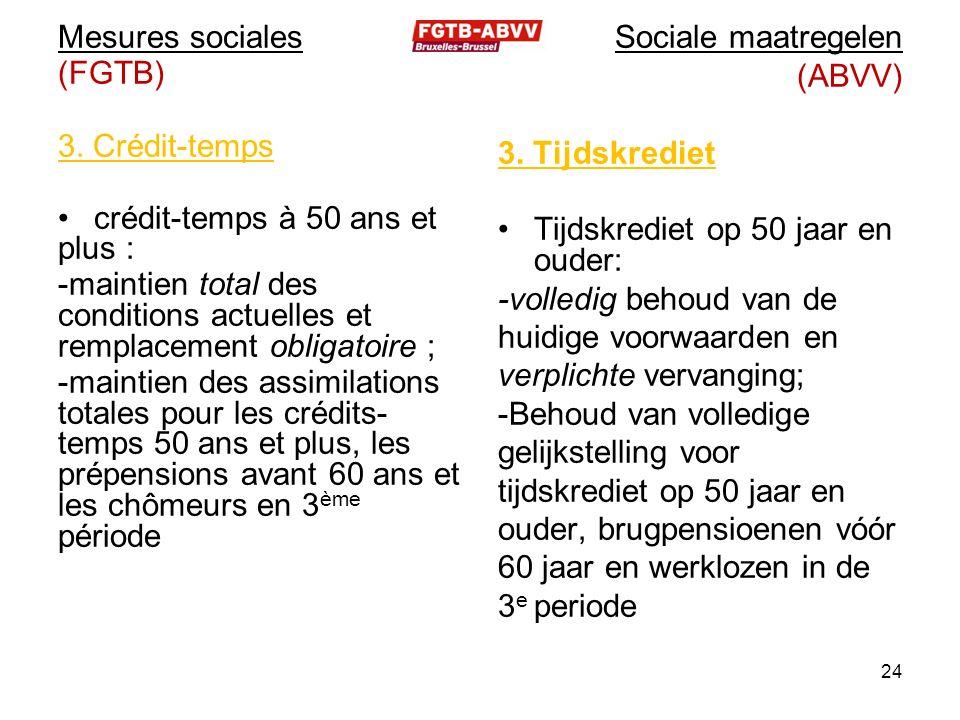 Mesures sociales (FGTB) 3. Crédit-temps crédit-temps à 50 ans et plus : -maintien total des conditions actuelles et remplacement obligatoire ; -mainti