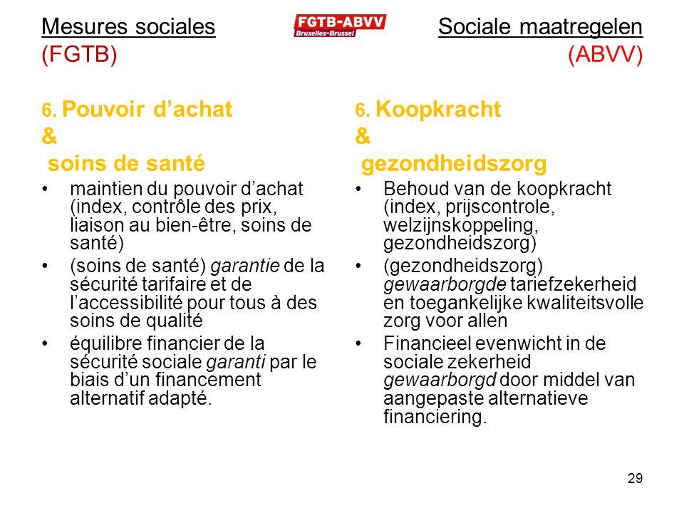 Mesures sociales (FGTB) 6.