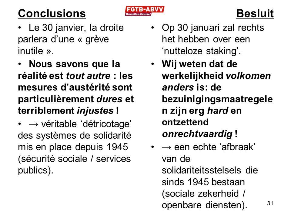 Conclusions Le 30 janvier, la droite parlera d'une « grève inutile ». Nous savons que la réalité est tout autre : les mesures d'austérité sont particu