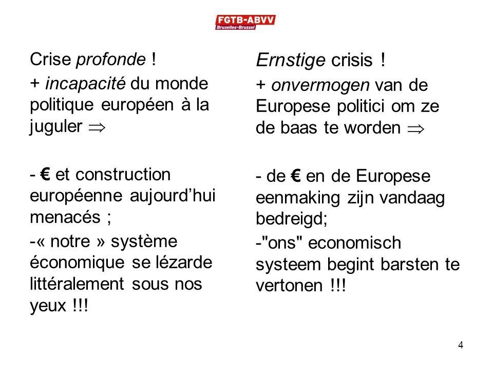 Crise profonde ! + incapacité du monde politique européen à la juguler  - € et construction européenne aujourd'hui menacés ; -« notre » système écono