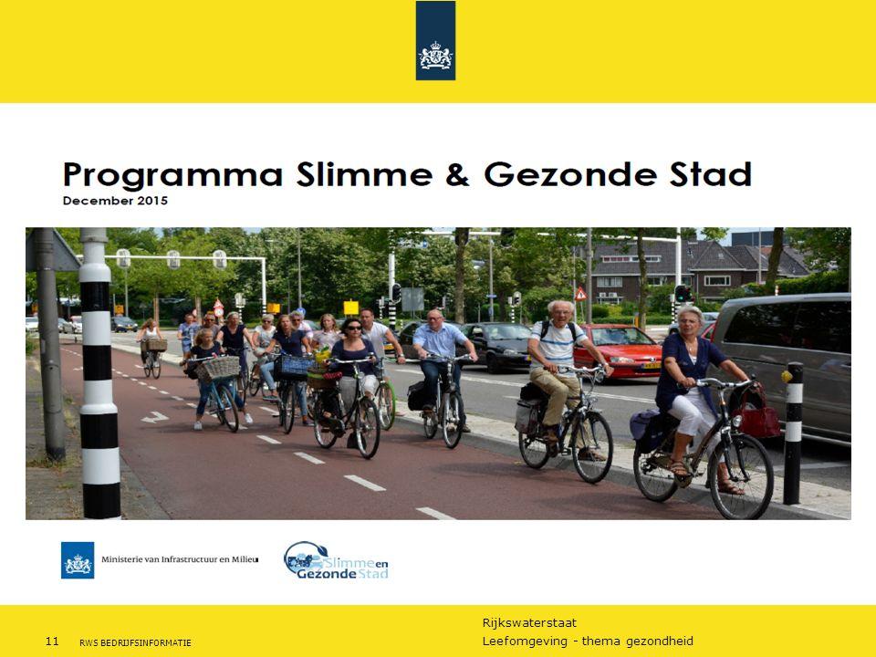 Rijkswaterstaat 11Leefomgeving - thema gezondheid RWS BEDRIJFSINFORMATIE Slimme en gezonde stad