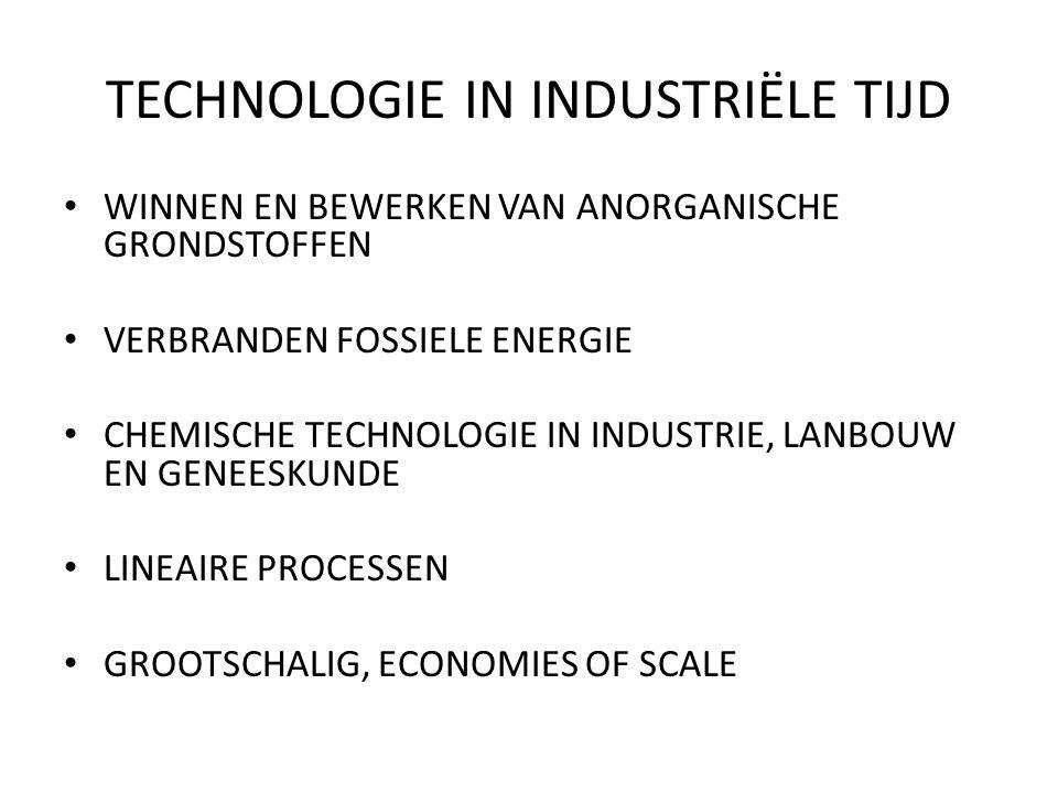TECHNOLOGIE IN INDUSTRIËLE TIJD WINNEN EN BEWERKEN VAN ANORGANISCHE GRONDSTOFFEN VERBRANDEN FOSSIELE ENERGIE CHEMISCHE TECHNOLOGIE IN INDUSTRIE, LANBOUW EN GENEESKUNDE LINEAIRE PROCESSEN GROOTSCHALIG, ECONOMIES OF SCALE