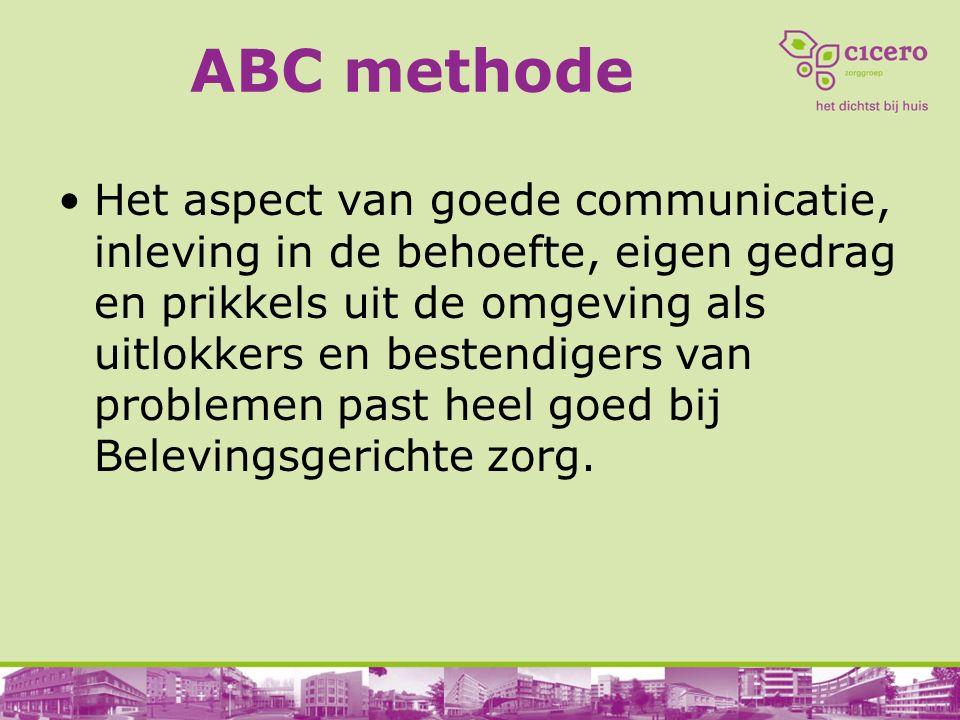 ABC methode Het aspect van goede communicatie, inleving in de behoefte, eigen gedrag en prikkels uit de omgeving als uitlokkers en bestendigers van pr
