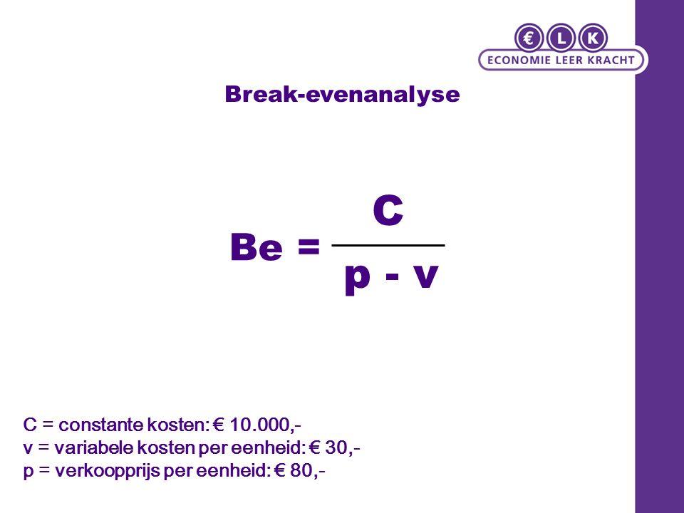Break-evenanalyse C = constante kosten: € 10.000,- v = variabele kosten per eenheid: € 30,- p = verkoopprijs per eenheid: € 80,- Be = C p - v