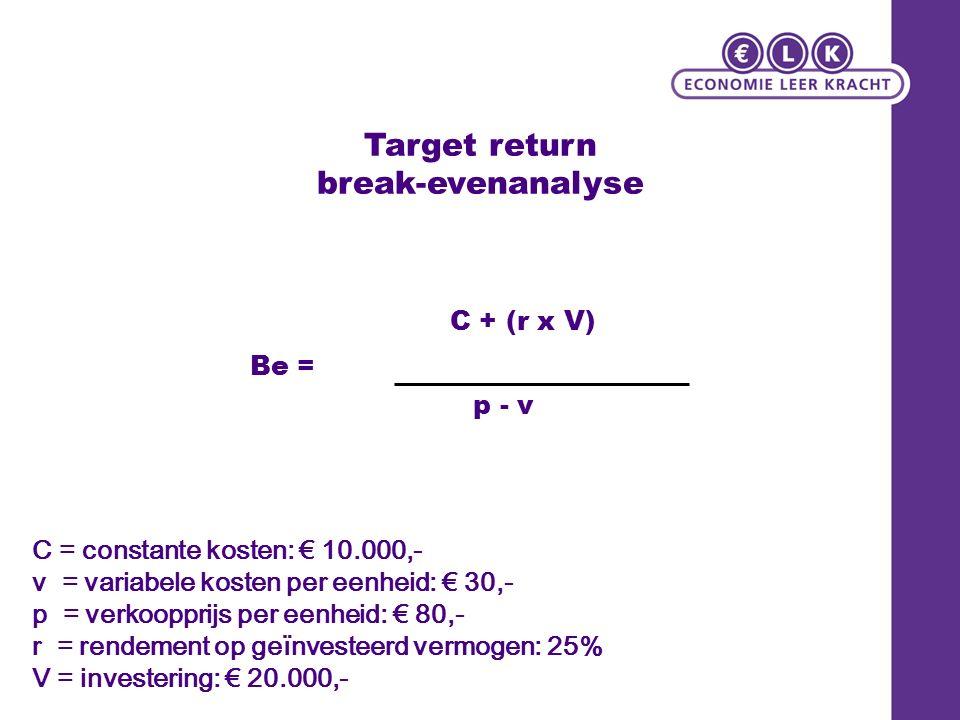 Target return break-evenanalyse C = constante kosten: € 10.000,- v = variabele kosten per eenheid: € 30,- p = verkoopprijs per eenheid: € 80,- r = rendement op geïnvesteerd vermogen: 25% V = investering: € 20.000,- Be = C + (r x V) p - v
