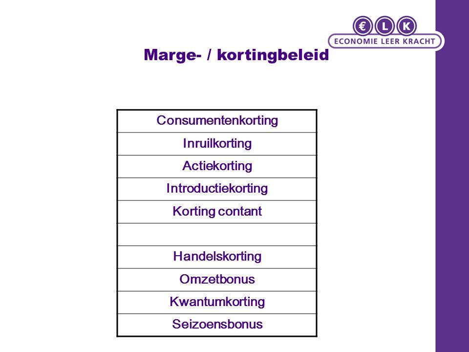 Marge- / kortingbeleid Consumentenkorting Inruilkorting Actiekorting Introductiekorting Korting contant Handelskorting Omzetbonus Kwantumkorting Seizoensbonus