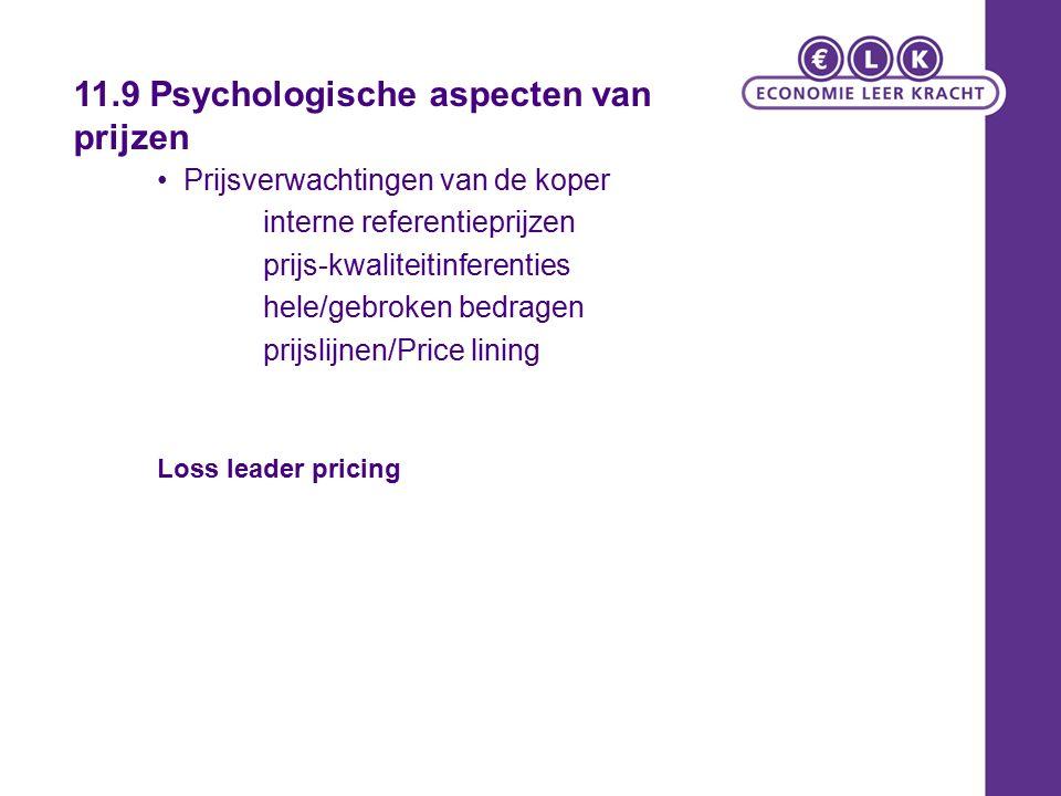 Prijsverwachtingen van de koper interne referentieprijzen prijs-kwaliteitinferenties hele/gebroken bedragen prijslijnen/Price lining Loss leader pricing 11.9 Psychologische aspecten van prijzen