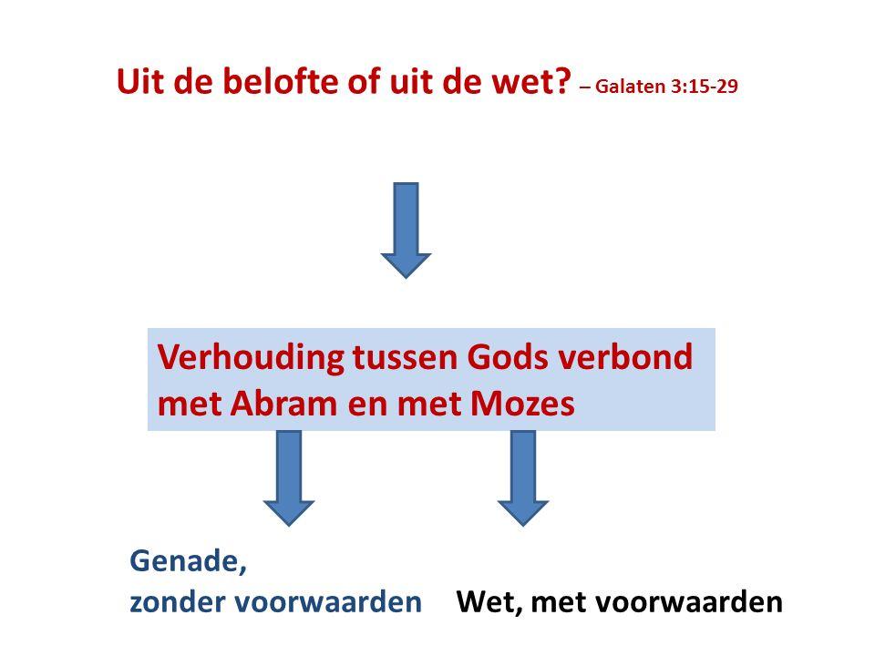 Uit de belofte of uit de wet? – Galaten 3:15-29 Verhouding tussen Gods verbond met Abram en met Mozes Genade, zonder voorwaarden Wet, met voorwaarden