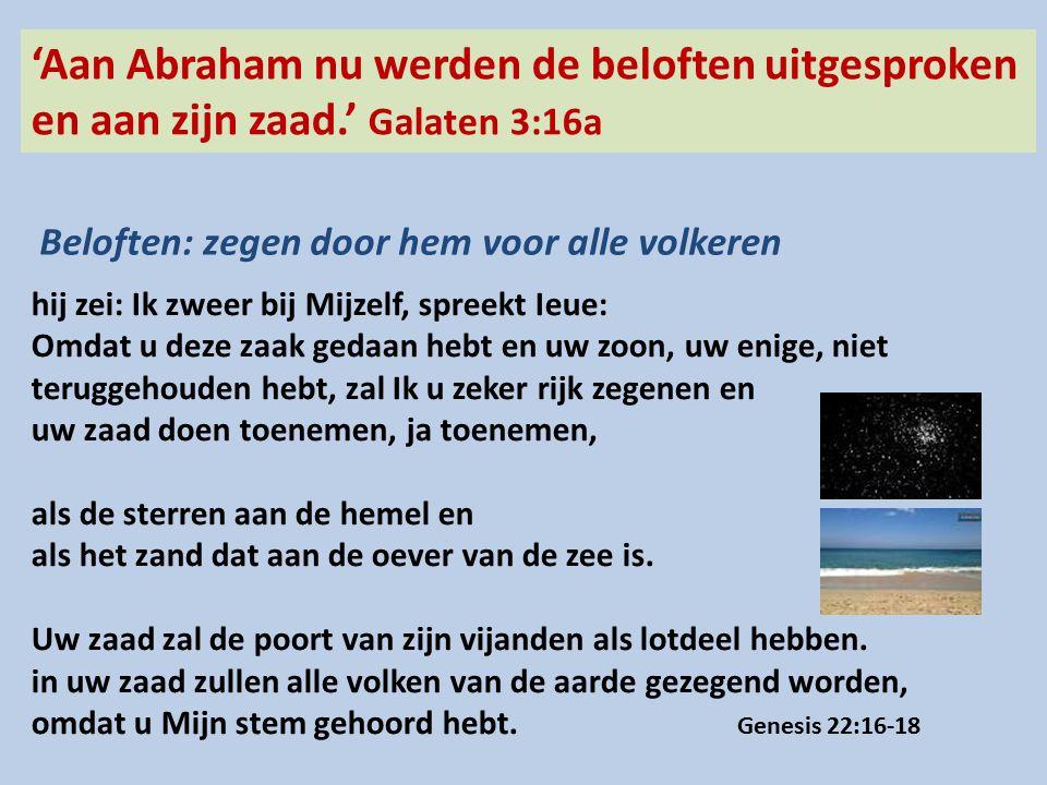 'Aan Abraham nu werden de beloften uitgesproken en aan zijn zaad.' Galaten 3:16a Beloften: zegen door hem voor alle volkeren hij zei: Ik zweer bij Mijzelf, spreekt Ieue: Omdat u deze zaak gedaan hebt en uw zoon, uw enige, niet teruggehouden hebt, zal Ik u zeker rijk zegenen en uw zaad doen toenemen, ja toenemen, als de sterren aan de hemel en als het zand dat aan de oever van de zee is.