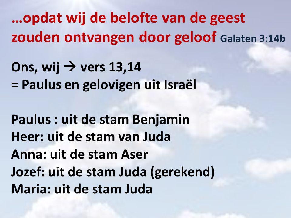 …opdat wij de belofte van de geest zouden ontvangen door geloof Galaten 3:14b Ons, wij  vers 13,14 = Paulus en gelovigen uit Israël Paulus : uit de stam Benjamin Heer: uit de stam van Juda Anna: uit de stam Aser Jozef: uit de stam Juda (gerekend) Maria: uit de stam Juda
