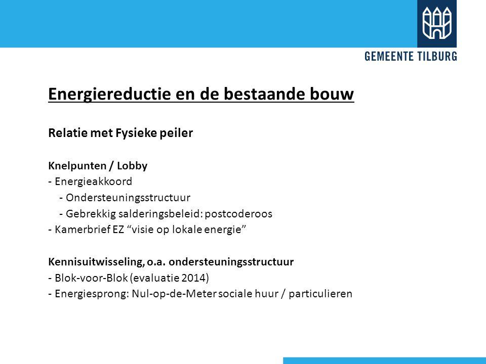 Relatie met Fysieke peiler Knelpunten / Lobby - Energieakkoord - Ondersteuningsstructuur - Gebrekkig salderingsbeleid: postcoderoos - Kamerbrief EZ visie op lokale energie Kennisuitwisseling, o.a.