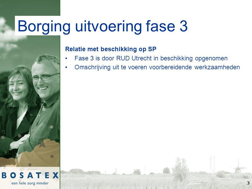 Borging uitvoering fase 3 Relatie met beschikking op SP Fase 3 is door RUD Utrecht in beschikking opgenomen Omschrijving uit te voeren voorbereidende werkzaamheden 3