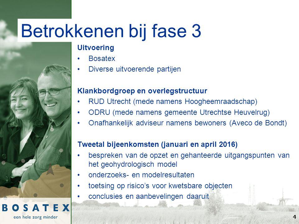 Betrokkenen bij fase 3 Uitvoering Bosatex Diverse uitvoerende partijen Klankbordgroep en overlegstructuur RUD Utrecht (mede namens Hoogheemraadschap) ODRU (mede namens gemeente Utrechtse Heuvelrug) Onafhankelijk adviseur namens bewoners (Aveco de Bondt) Tweetal bijeenkomsten (januari en april 2016) bespreken van de opzet en gehanteerde uitgangspunten van het geohydrologisch model onderzoeks- en modelresultaten toetsing op risico's voor kwetsbare objecten conclusies en aanbevelingen daaruit 4