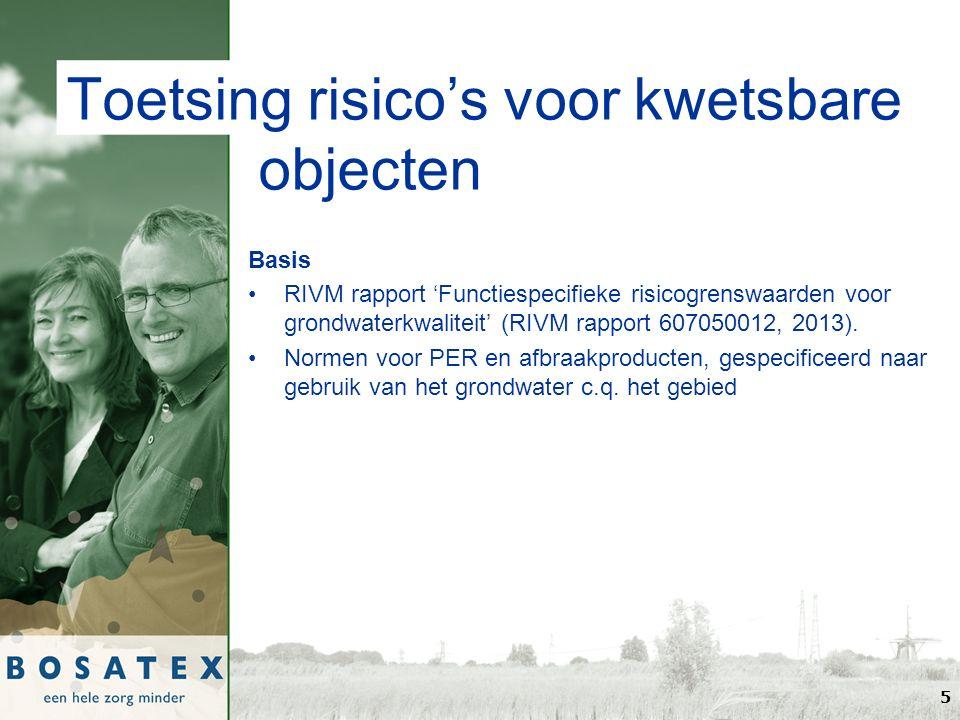 Toetsing risico's voor kwetsbare objecten Basis RIVM rapport 'Functiespecifieke risicogrenswaarden voor grondwaterkwaliteit' (RIVM rapport 607050012, 2013).