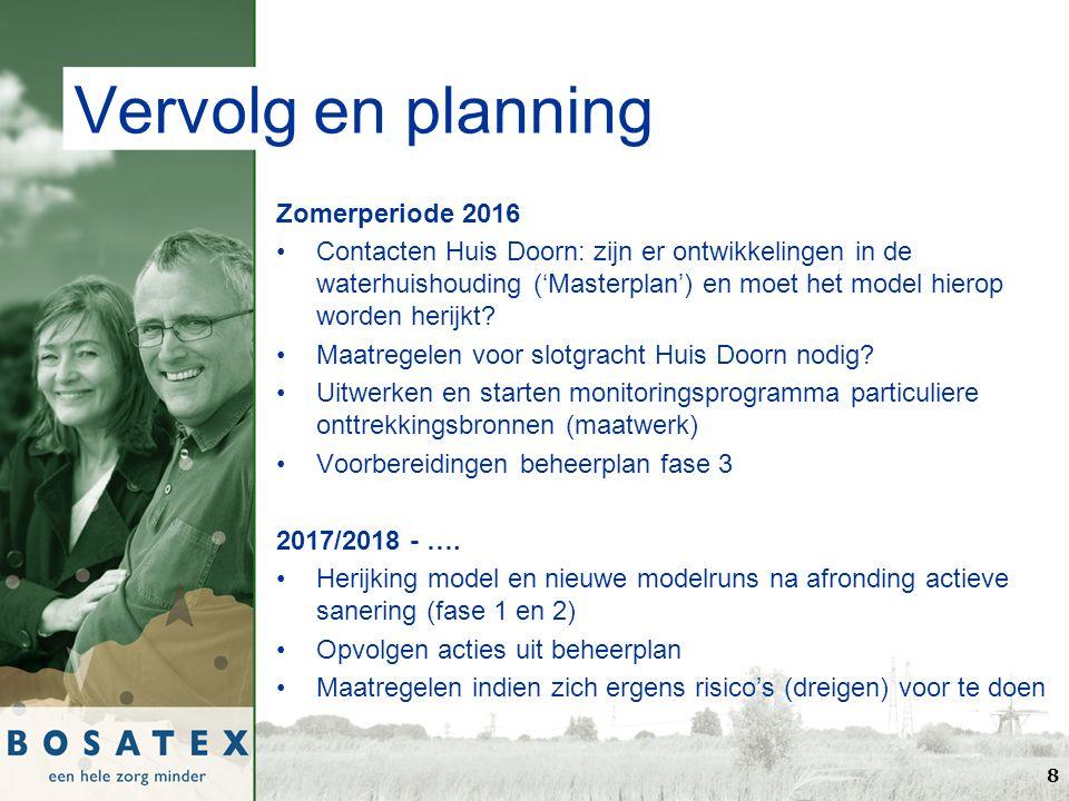 Vervolg en planning Zomerperiode 2016 Contacten Huis Doorn: zijn er ontwikkelingen in de waterhuishouding ('Masterplan') en moet het model hierop worden herijkt.