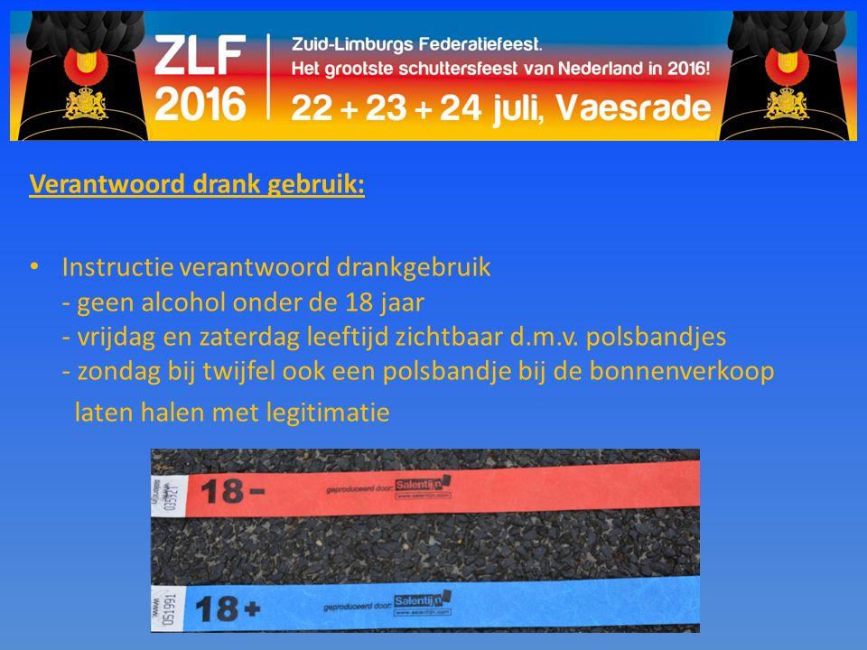 Verantwoord drank gebruik: Instructie verantwoord drankgebruik - geen alcohol onder de 18 jaar - vrijdag en zaterdag leeftijd zichtbaar d.m.v. polsban