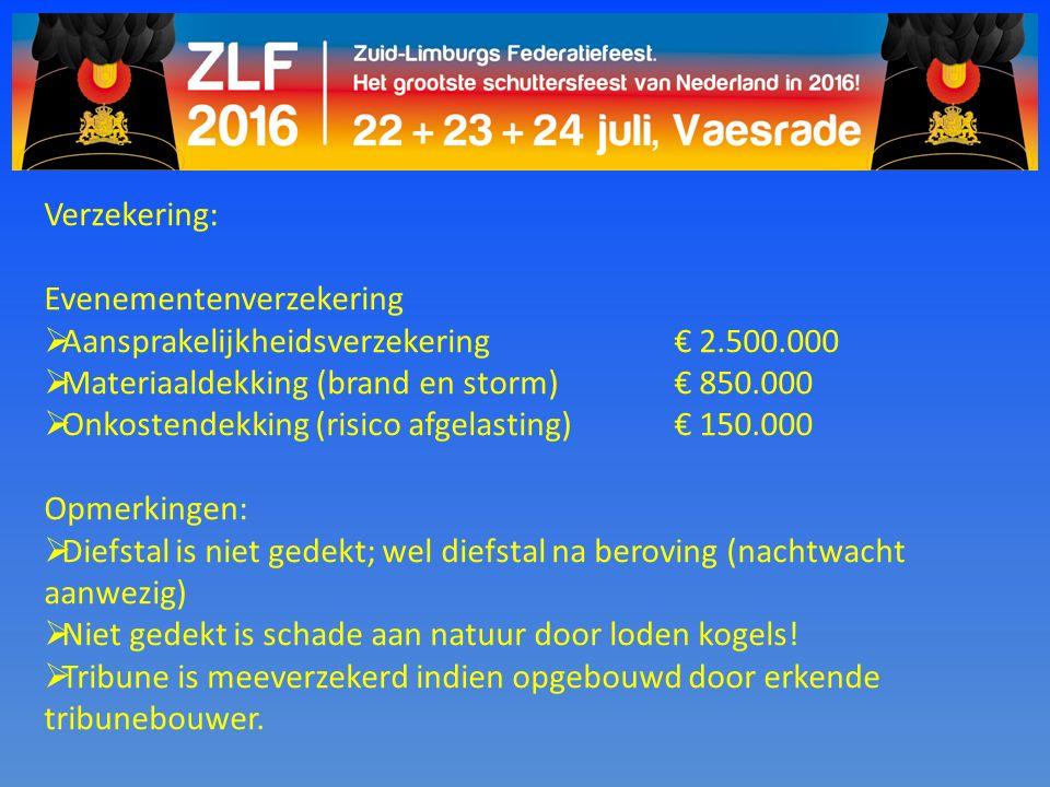 Verzekering: Evenementenverzekering  Aansprakelijkheidsverzekering € 2.500.000  Materiaaldekking (brand en storm)€ 850.000  Onkostendekking (risico