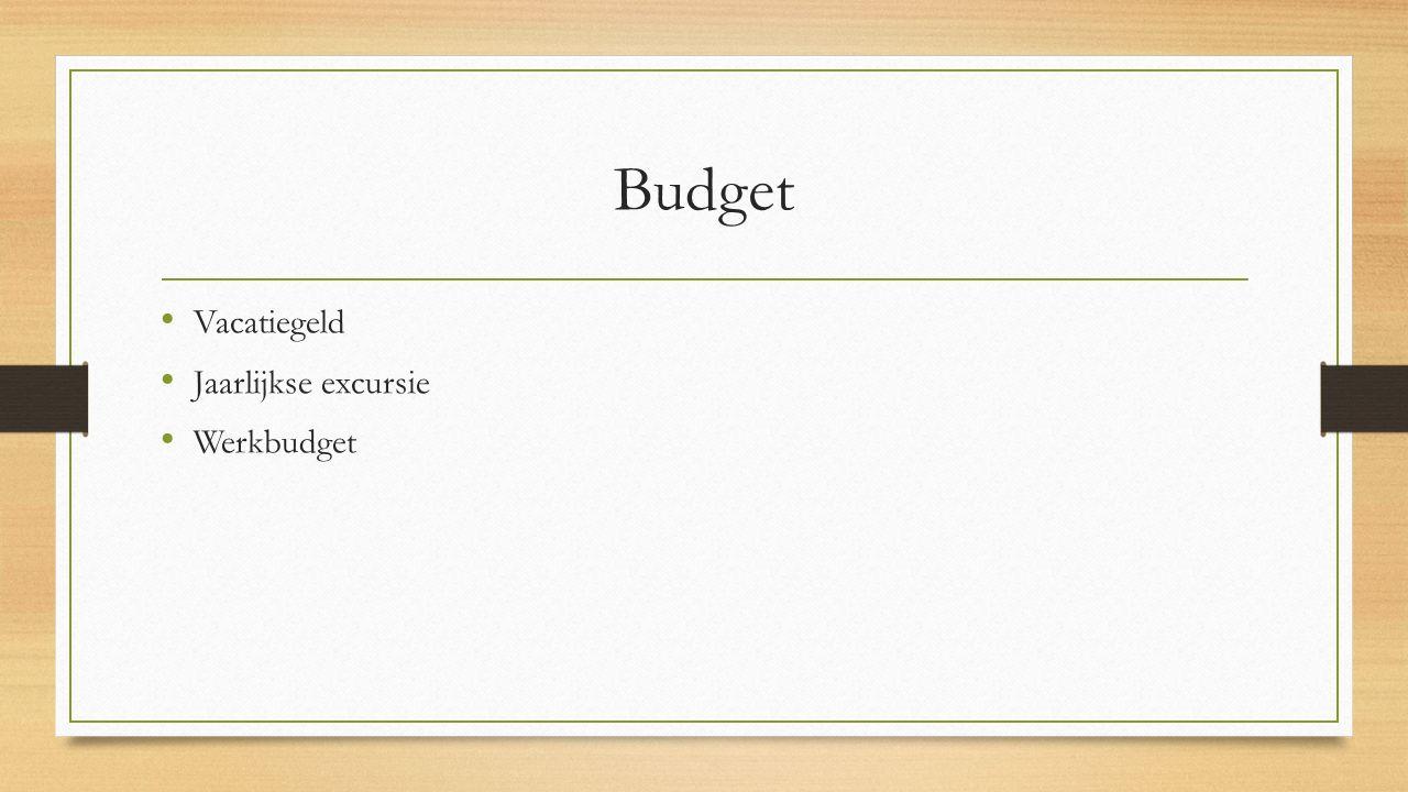 Budget Vacatiegeld Jaarlijkse excursie Werkbudget
