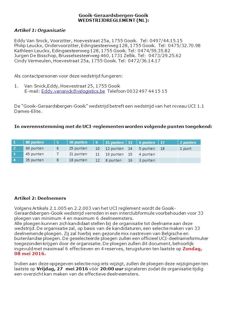 Gooik-Geraardsbergen-Gooik WEDSTRIJDREGLEMENT (NL): Artikel 1: Organisatie Eddy Van Snick, Voorzitter, Hoevestraat 25a, 1755 Gooik. Tel: 0497/44.15.15