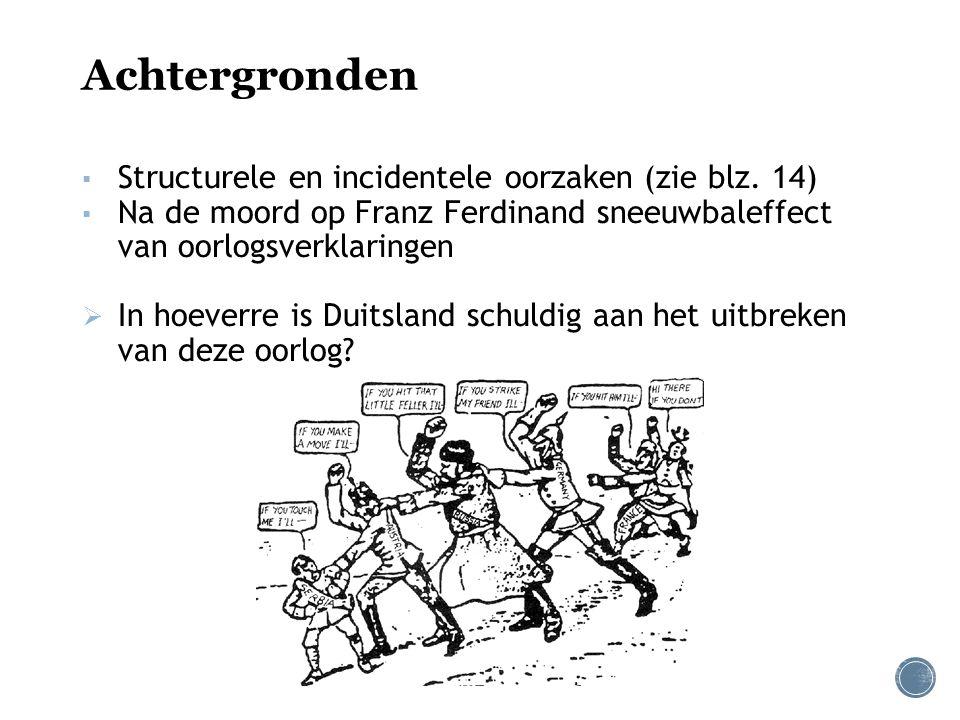 Achtergronden ▪ Structurele en incidentele oorzaken (zie blz. 14) ▪ Na de moord op Franz Ferdinand sneeuwbaleffect van oorlogsverklaringen  In hoever