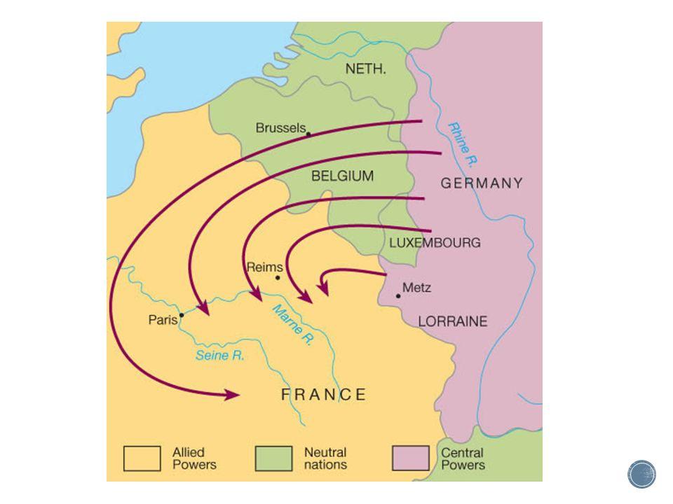 ▪ Het Von Schlieffenplan mislukte ▪ De tegenstand van de Belgen was groter dan verwacht ▪ De Russen waren eerder klaar dan verwacht en veel soldaten moesten ook naar het Oostfront ▪ Uiteindelijk werd het Duitse leger tegengehouden bij de Marne(Von Moltke ontslagen)