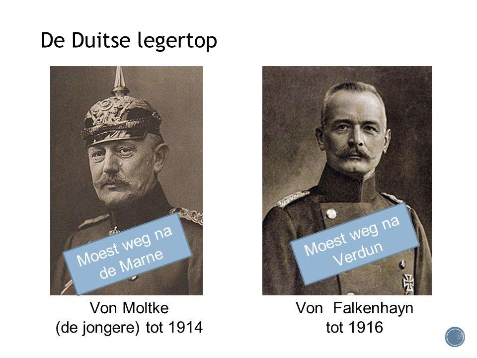Von Moltke (de jongere) tot 1914 De Duitse legertop Von Falkenhayn tot 1916 Moest weg na de Marne Moest weg na Verdun