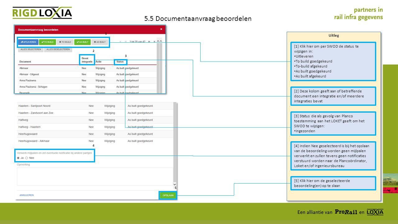 Uitleg 5.5 Documentaanvraag beoordelen [1] Klik hier om per SWOD de status te wijzigen in: Uitleveren To build goedgekeurd To-build afgekeurd As built goedgekeurd As built afgekeurd [2] Deze kolom geeft aan of betreffende document een integratie en/of meerdere integraties bevat [3] Status die als gevolg van Planco toestemming aan het LOKET geeft om het SWOD te wijzigen: Ingezonden [5] Klik hier om de geselecteerde beoordeling(en) op te slaan [4] Indien Nee geselecteerd is bij het opslaan van de beoordeling worden geen mijlpalen verwerkt en zullen tevens geen notificaties verstuurd worden naar de Plancoördinator, Loket en/of Ingenieursbureau 1 2 3 4 5