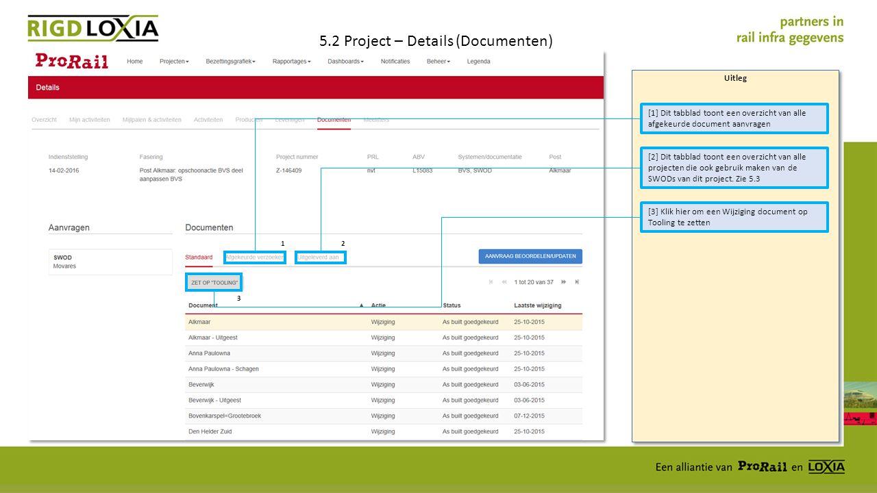 Uitleg 5.2 Project – Details (Documenten) [3] Klik hier om een Wijziging document op Tooling te zetten [1] Dit tabblad toont een overzicht van alle afgekeurde document aanvragen [2] Dit tabblad toont een overzicht van alle projecten die ook gebruik maken van de SWODs van dit project.