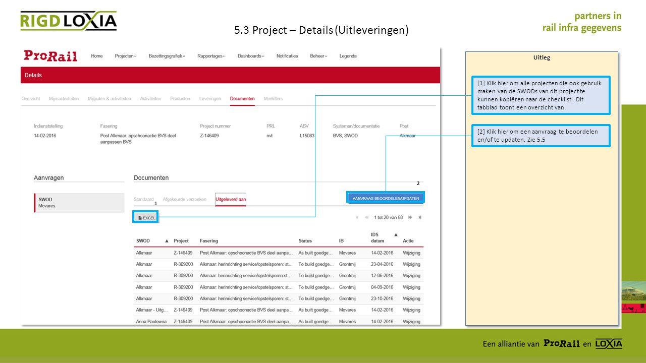 Uitleg 5.3 Project – Details (Uitleveringen) [1] Klik hier om alle projecten die ook gebruik maken van de SWODs van dit project te kunnen kopiëren naar de checklist.