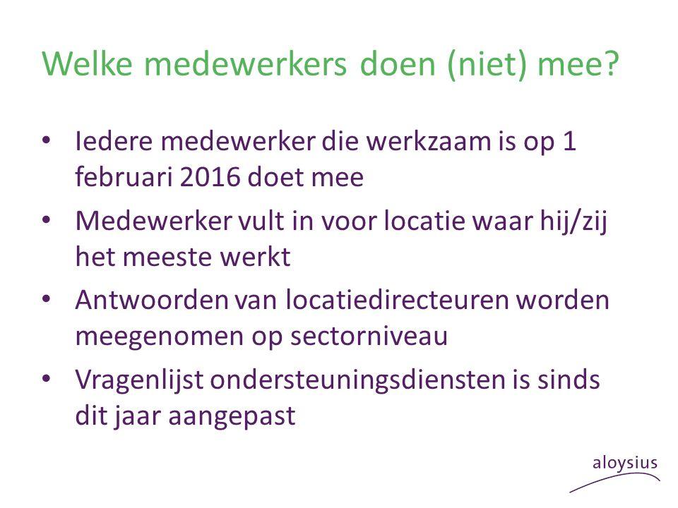 Welke medewerkers doen (niet) mee? Iedere medewerker die werkzaam is op 1 februari 2016 doet mee Medewerker vult in voor locatie waar hij/zij het mees
